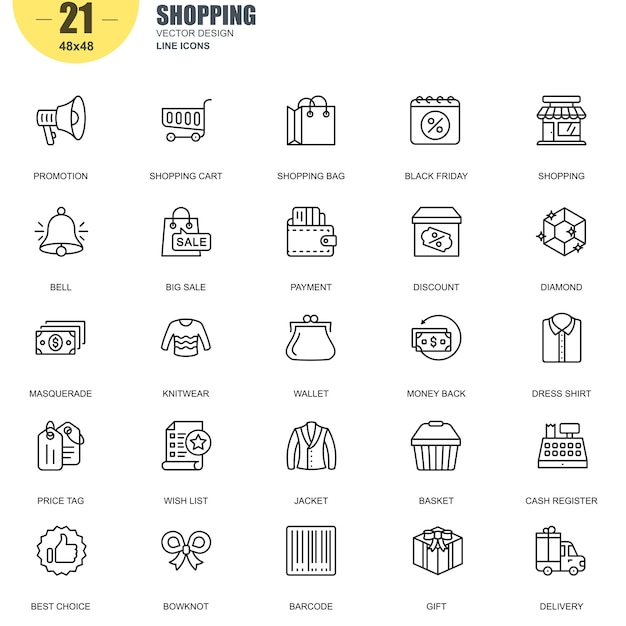 Simple set of shopping related vector line icons Premium Vector