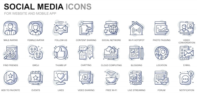 Simple set social media and network line icons for website and mobile apps Premium Vector