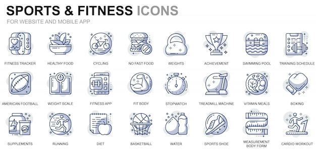 Simple set sport and fitness line icons for website and