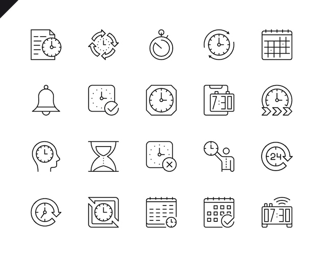 Simple set of time related vector line icons. Premium Vector