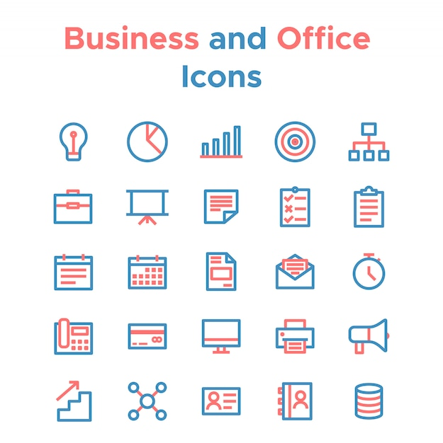 Simple set of vector line icons for business purposes Premium Vector