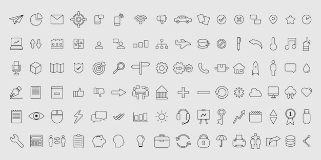 Simple set of vector thin line business icons Premium Vector