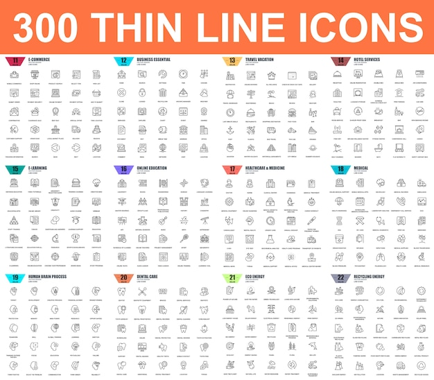 Simple set of vector thin line icons Premium Vector