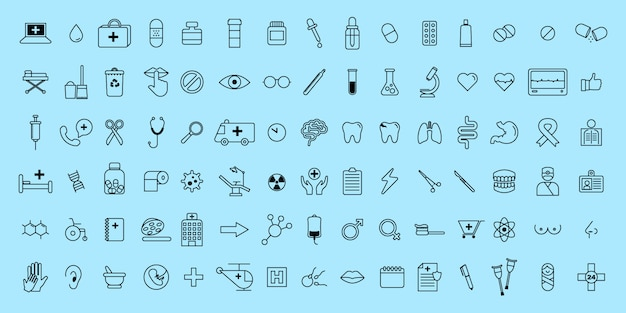 Simple set vector thin line medical and science icons Premium Vector