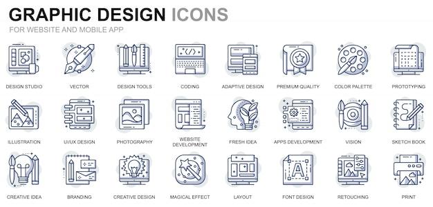 Webサイトおよびモバイルアプリ用のシンプルなセットwebおよびグラフィックデザインラインアイコン Premiumベクター