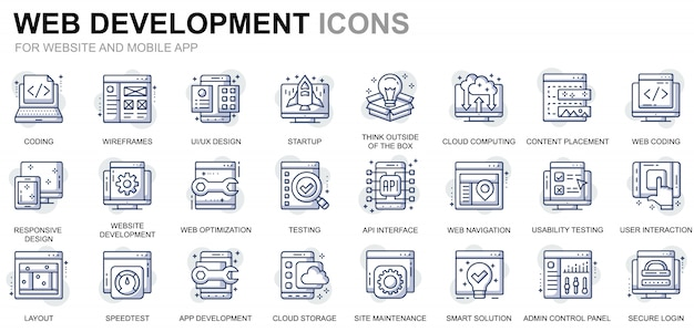 Simple set web disign and development line icons for website and mobile apps Premium Vector