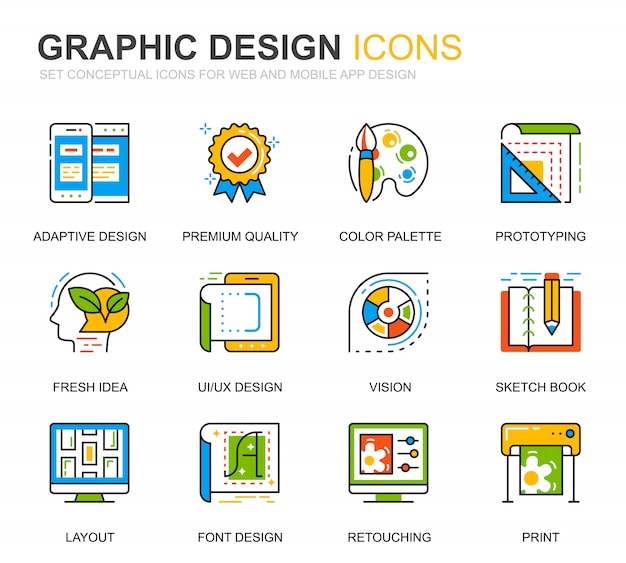 Simple set web and graphic design line icons for website Premium Vector