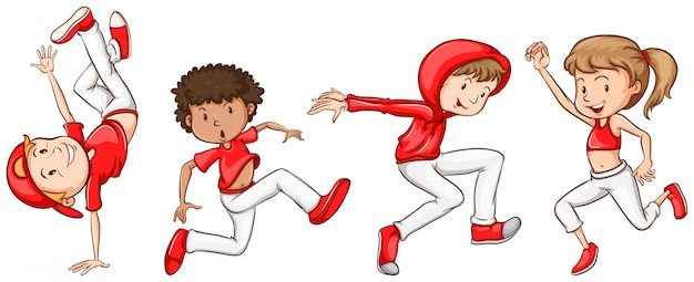 A simple sketch of the dancers in red Free Vector
