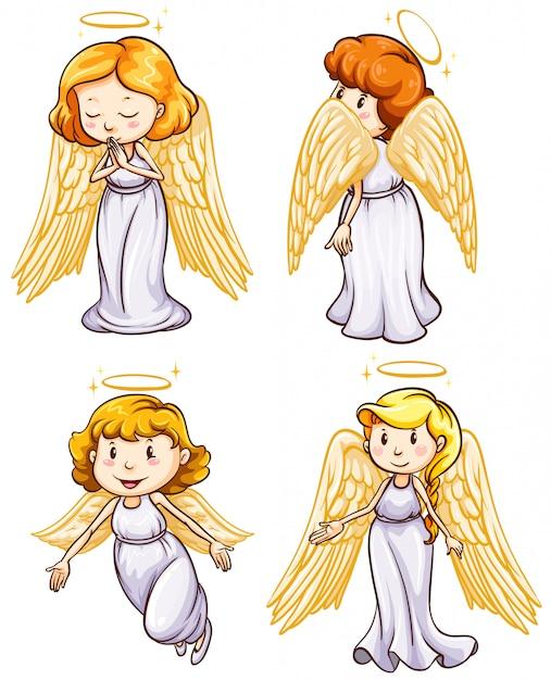 Semplici schizzi di angeli Vettore gratuito