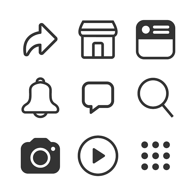 Simple social media icon set Premium Vector