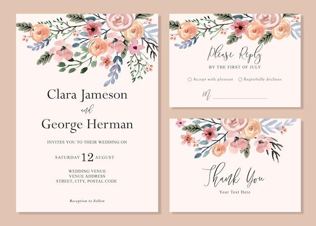Приглашение на свадьбу акварелью с простыми мягкими и мечтательными цветами Premium векторы