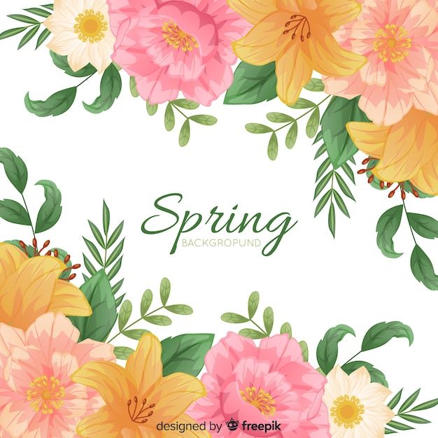 Simple spring background with floral frame Free Vector