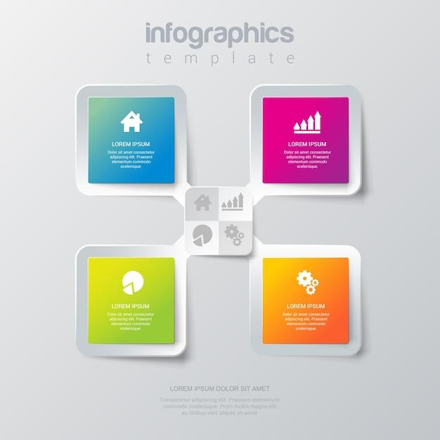 シンプルでスタイリッシュな4つのインフォグラフィックテンプレート。 無料ベクター