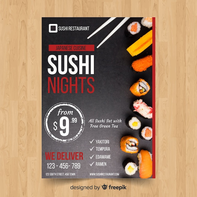 Simple sushi flyer Free Vector
