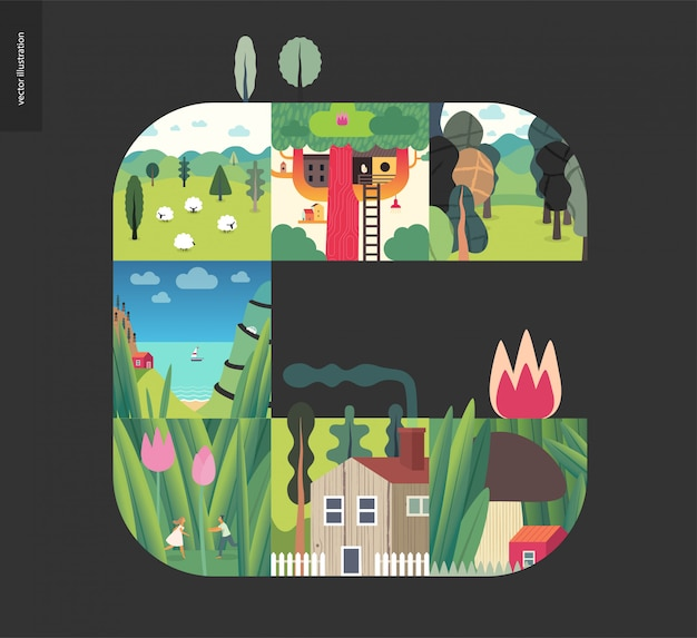 Simple things, forest set composition Premium Vector