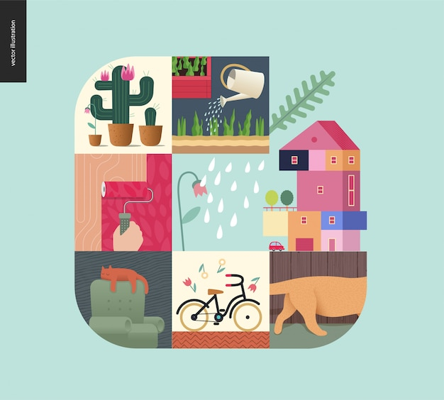 Simple things, home composition Premium Vector