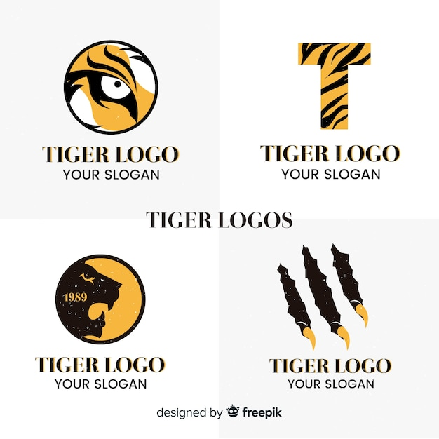 Simple tiger logo pack Free Vector