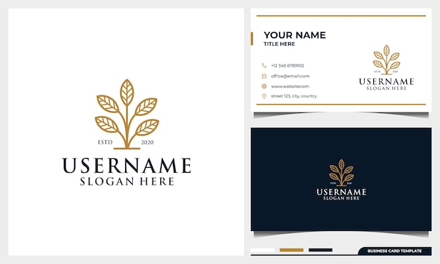エレガントなリーフラインアートスタイルと名刺テンプレートとシンプルな木のロゴ Premiumベクター