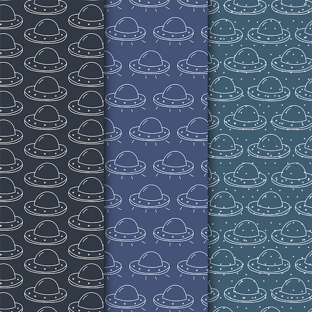 Simple ufo seamless pattern on dark Premium Vector