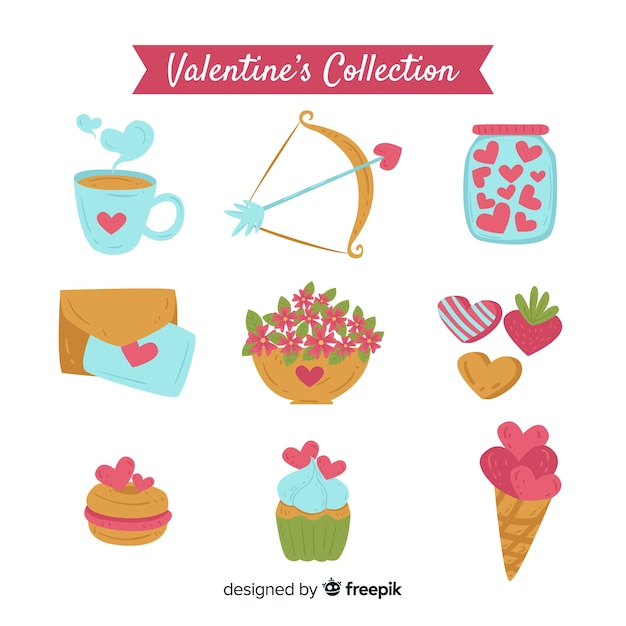 Simple valentine elements pack Free Vector