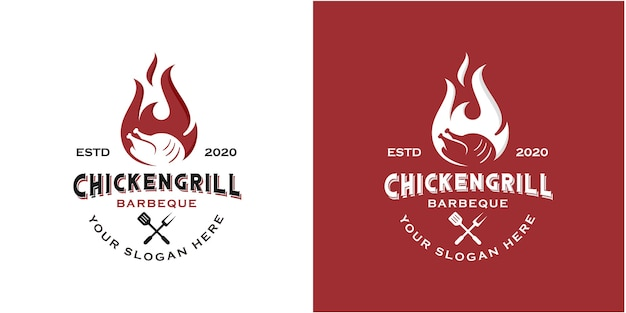Simple vintage roasted chicken logo design inspiration template Premium Vector