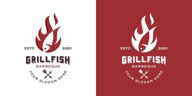 Simple vintage western grilled fish logo design inspiration template Premium Vector