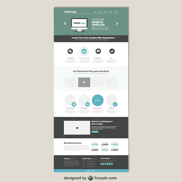 Simple website tamplate  Free Vector
