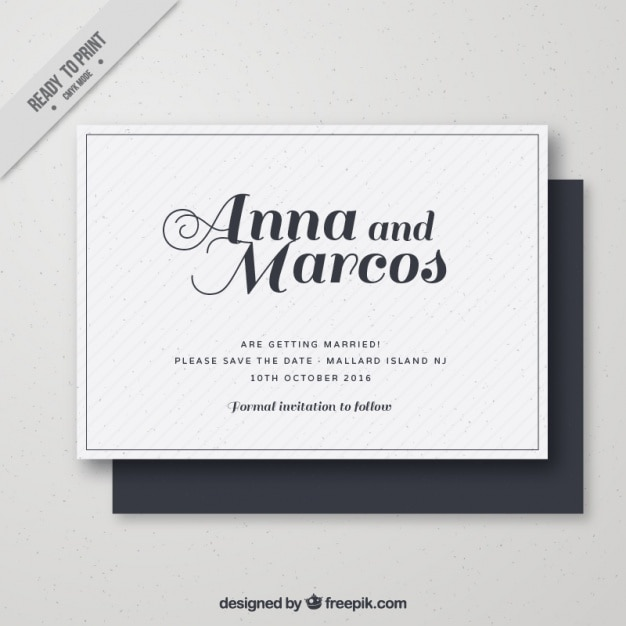 simple wedding card in retro style vector free download
