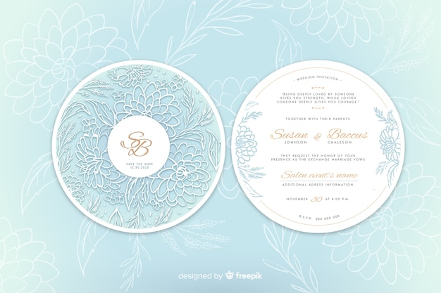 Simple wedding invitation with flowers Free Vector