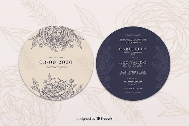 Simple wedding invitation with hand drawn roses Free Vector