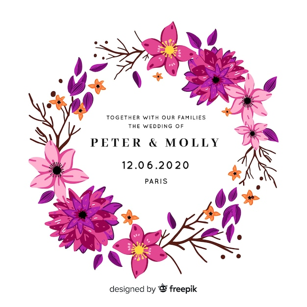 Simple wedding invitation with purple flowers Free Vector