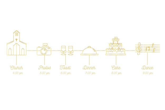 Simple wedding timeline in lineal style Free Vector