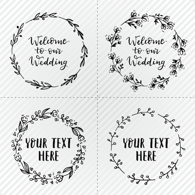 simple wedding wreaths vector