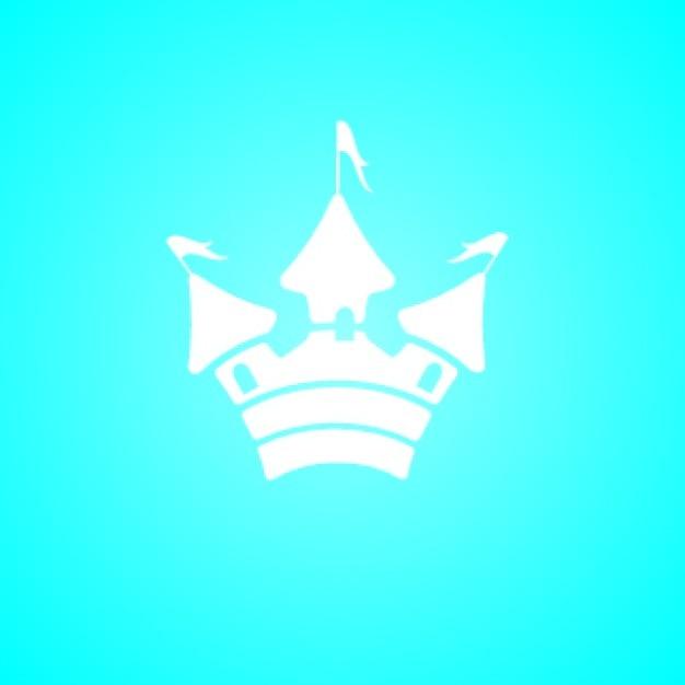 Simple white castle silhouette icon on\ blue
