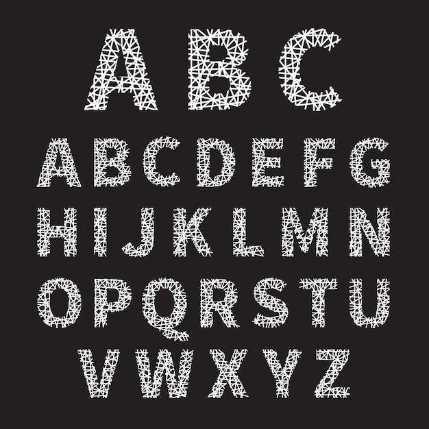 Простой белый пересеченный шрифт алфавит иллюстрации на сером фоне. Бесплатные векторы