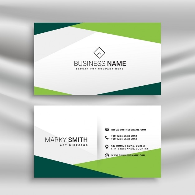 Simple White And Green Business Card Vector Free Download
