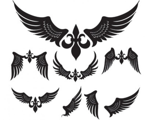 Simple Wings Vector Pack Free Vector