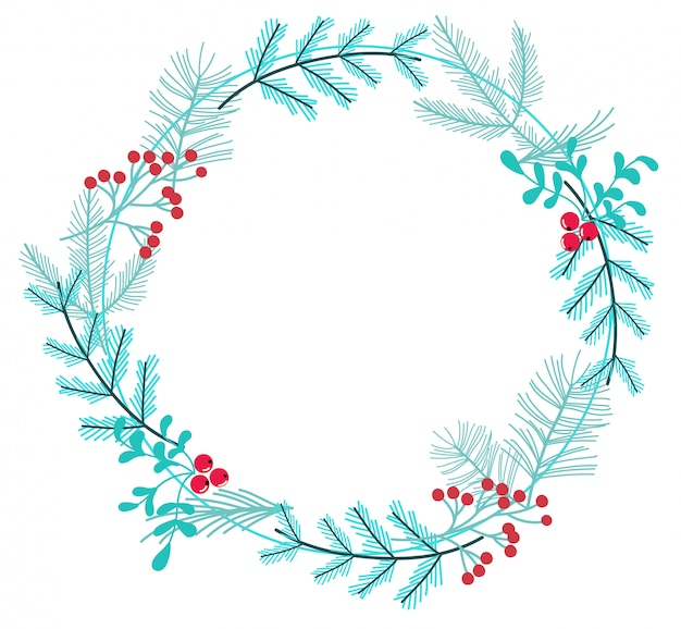 Simple winter wreath made of branches and berries Premium Vector