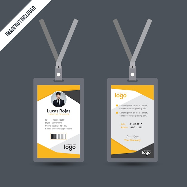 Simple Yellow Color Id Card Design Template Vector | Premium Download