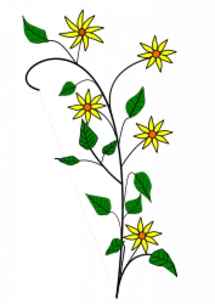 Simple yellow flowers drawing with white\ background
