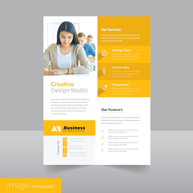 simple yellow leaflet flyer design template premium vector