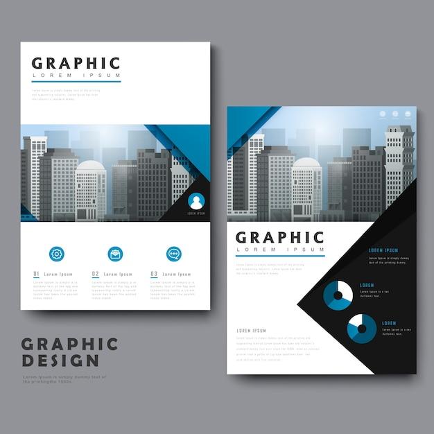 Простота шаблона дизайна с городским пейзажем и геометрическими элементами Premium векторы