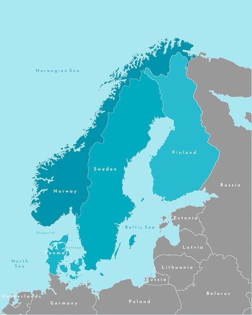Упрощенная политическая карта стран скандинавии и северной европы в синих тонах и ближайших областей в сером. Premium векторы