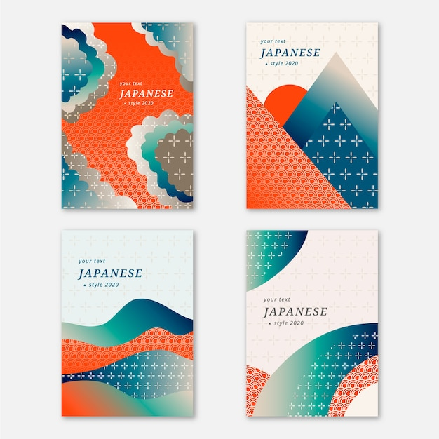 Simplistic japanese cover collection Free Vector