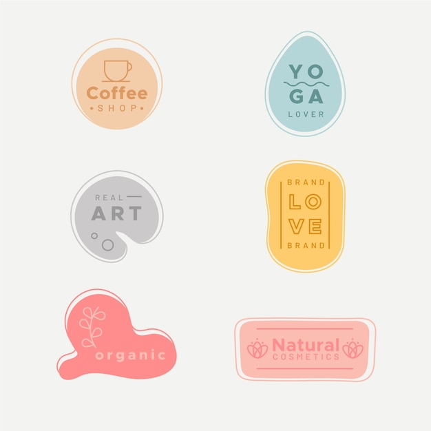 Simplistic logo collection with pastel colours Free Vector