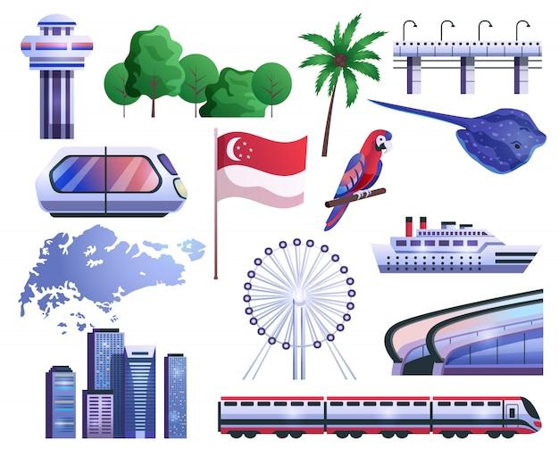 Set di icone del fumetto di singapore Vettore gratuito
