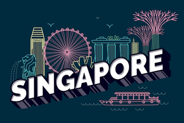 Singapore city lettering Free Vector