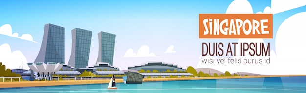 Singapore city view skyscraper background skyline cityscape with copy space Premium Vector