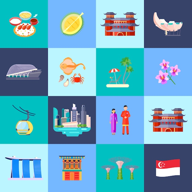 Singapore culture colored flat icon set with main attractions in little circles vector illustration Free Vector