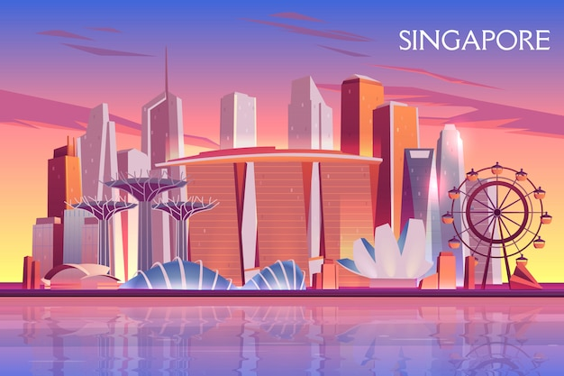 Singapore evening, morning skyline with futuristic skyscraper buildings on city bay illuminated Free Vector